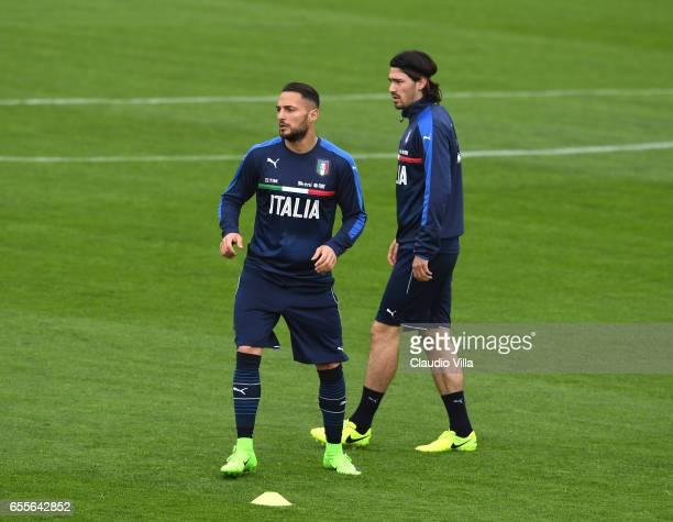 Danilo D'Ambrosio of Italy looks on during the training session at the club's training ground at Coverciano on March 20 2017 in Florence Italy