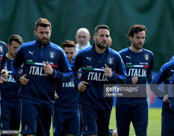 Danilo D'Ambrosio of Italy looks on during the training session at the club's training ground at Coverciano on March 21 2017 in Florence Italy