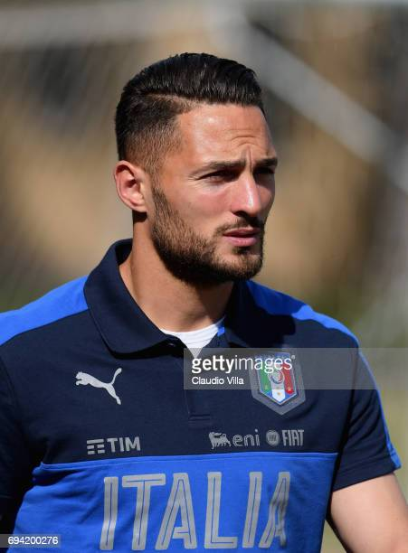 Danilo D'Ambrosio of Italy looks on prior to the training session at Coverciano on June 09 2017 in Florence Italy