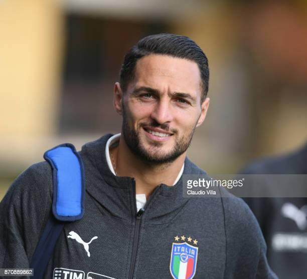 Danilo D'Ambrosio of Italy looks on prior to the training session at Italy club's training ground at Coverciano on November 6 2017 in Florence Italy