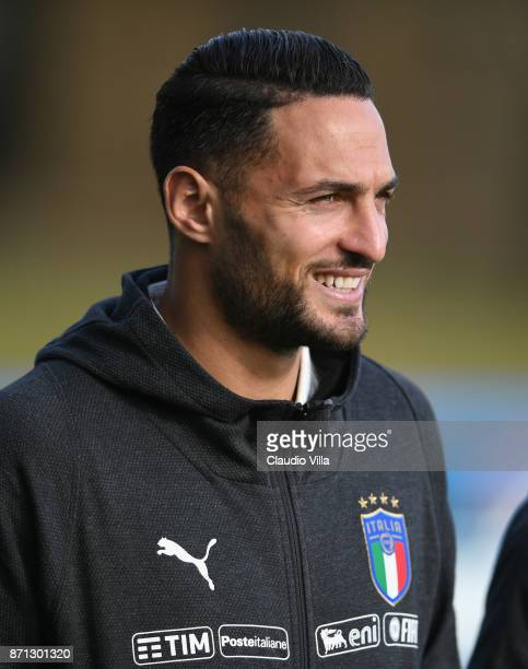 Danilo D'Ambrosio of Italy looks on prior to the training session at Italy club's training ground at Coverciano on November 7 2017 in Florence Italy