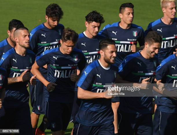 Danilo D'Ambrosio of Italy smiles during a training session at Coverciano at Coverciano on May 29 2017 in Florence Italy