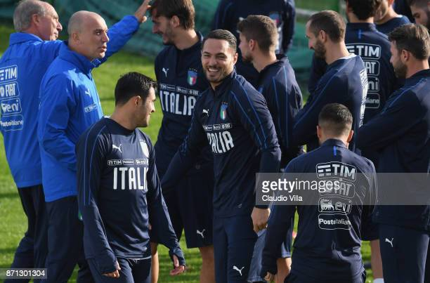 Danilo D'Ambrosio of Italy smiles during the training session at Italy club's training ground at Coverciano on November 7 2017 in Florence Italy