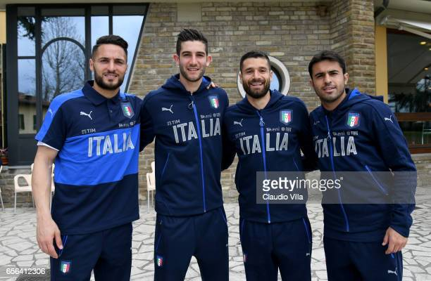 Danilo D'Ambrosio Roberto Gagliardini Antonio Candreva and Citadin Martins Eder pose for a photo prior to the training session at the club's training...