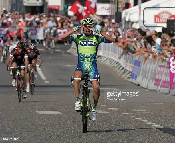 Danilo Di Luca of team Liquigas wins the 2007 Liege Bastogne Liege Pro Tour cycling event in Ans Belgium on April 29 2007