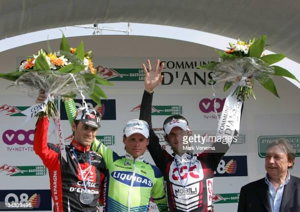 Danilo Di Luca of team Liquigas wins the 2007 Liege Bastogne Liege Pro Tour cycling event in Ans Belgium on April 29 2007 Alejandro Valverde finishes...