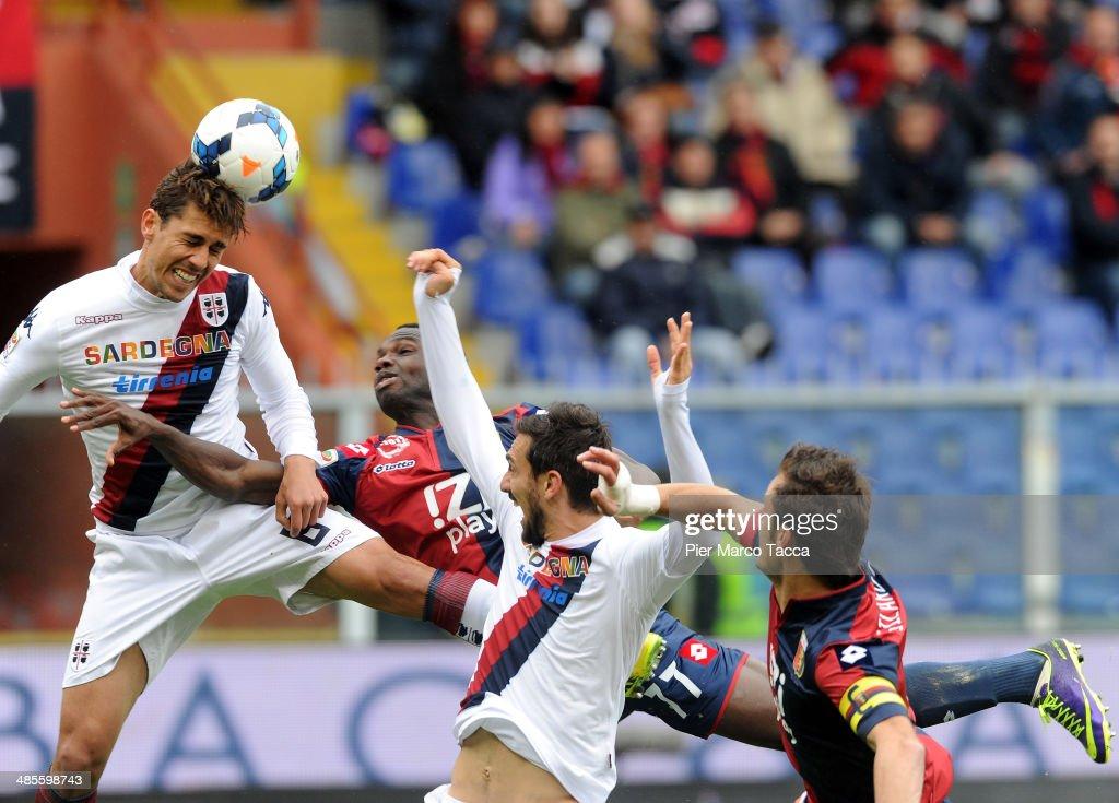 Danilo Fernando Avelar of Cagliari Calcio jumping for the ball head during the Serie A match between Genoa CFC and Cagliari Calcio at Stadio Luigi...