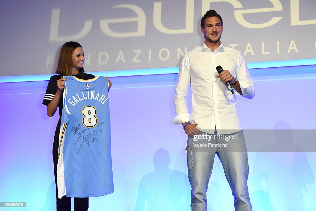 Danilo Gallinari (R) attends the Laureus F1 Charity Night at the Mercedes-Benz Spa on September 1, 2016 in Milan, Italy.