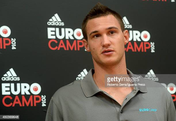 Danilo Gallinari is interviewed during adidas Eurocamp day three at La Ghirada sports center on June 9 2014 in Treviso Italy