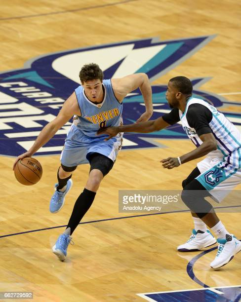 Danilo Gallinari of Denver Nuggets in action during the NBA match between Denver Nuggets vs Charlotte Hornets at the Spectrum arena in Charlotte NC...