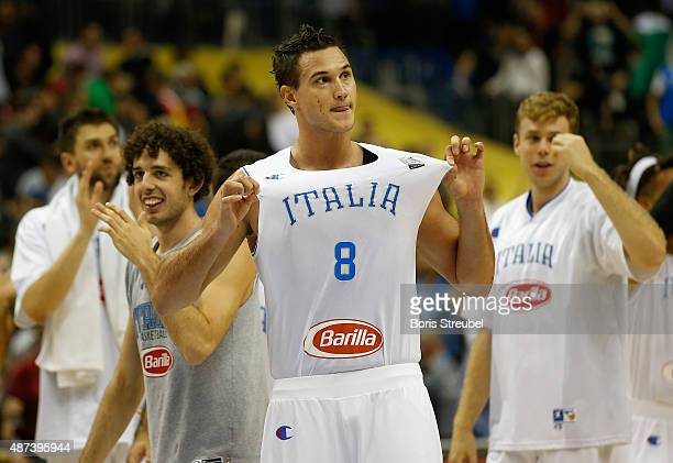 Danilo Gallinari of Italy celebrates after winning the FIBA EuroBasket 2015 Group B basketball match between Italy and Germany at Arena of EuroBasket...