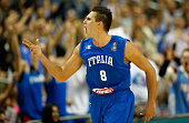 Danilo Gallinari of Italy celebrates during the FIBA EuroBasket 2015 Group B basketball match between Spain and Italy at Arena of EuroBasket 2015 on...