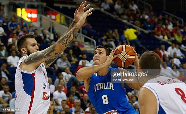 Danilo Gallinari of Italy drives to the basket against Serbia during the FIBA EuroBasket 2015 Group B basketball match between Serbia and Italy at...