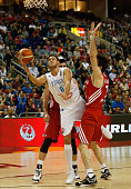 Danilo Gallinari of Italy drives to the basket against Turkey during the FIBA EuroBasket 2015 Group B basketball match between Italy and Turkey at...