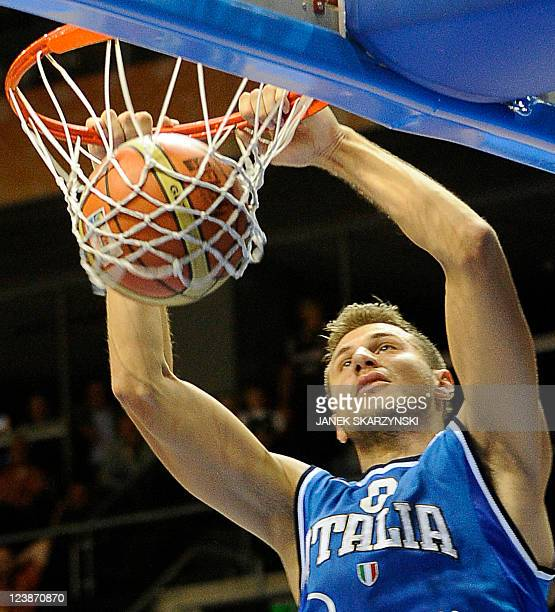 Danilo Gallinari of Italy dunks the ball during a game against Israel during a 2011 European championship qualifying round group B basketball game in...