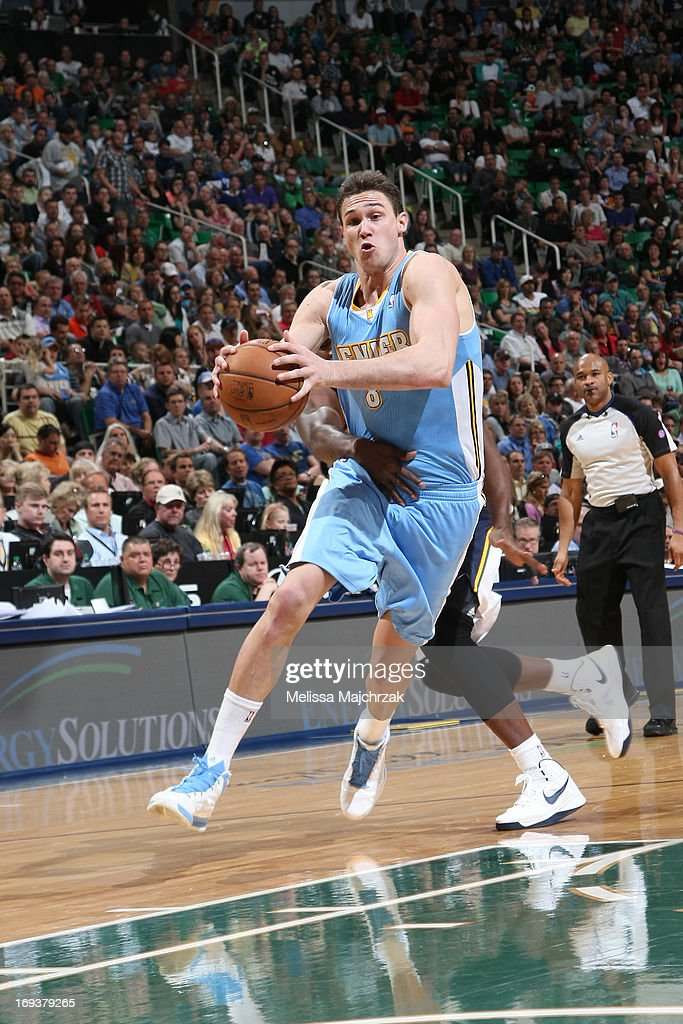 <a gi-track='captionPersonalityLinkClicked' href=/galleries/search?phrase=Danilo+Gallinari&family=editorial&specificpeople=4644476 ng-click='$event.stopPropagation()'>Danilo Gallinari</a> #8 of the Denver Nuggets against the Utah Jazz at Energy Solutions Arena on April 3, 2013 in Salt Lake City, Utah.