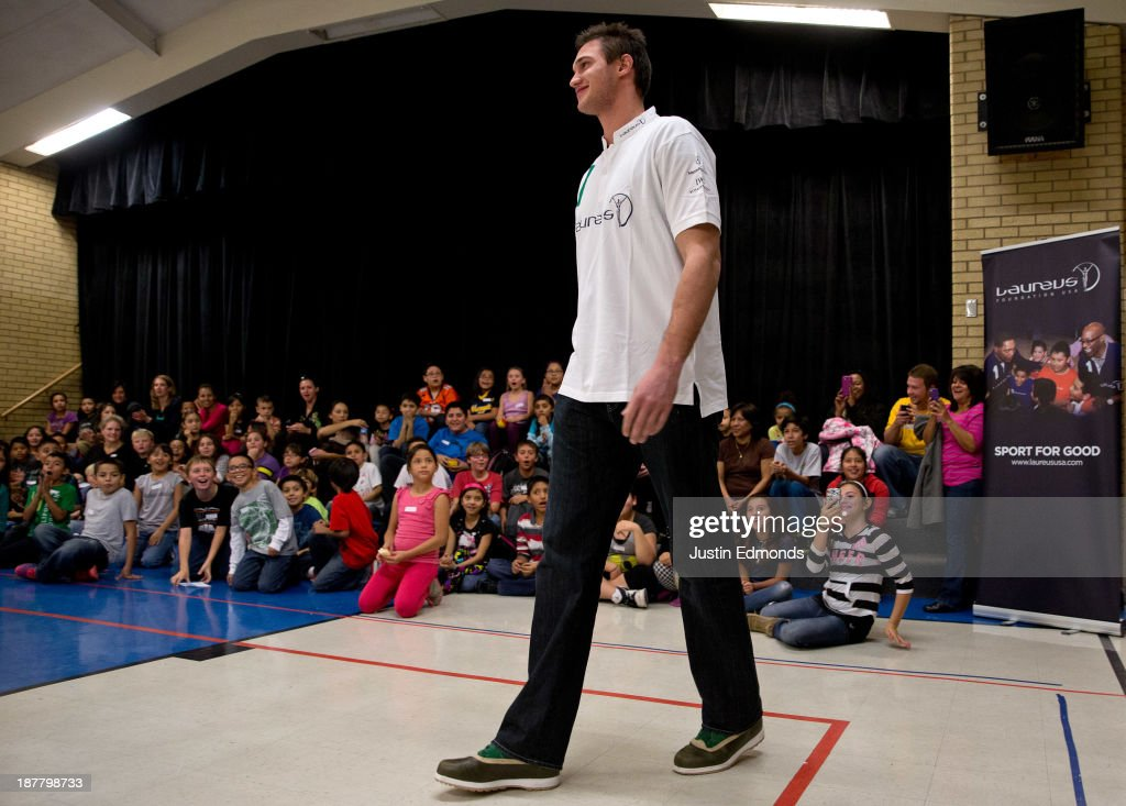 <a gi-track='captionPersonalityLinkClicked' href=/galleries/search?phrase=Danilo+Gallinari&family=editorial&specificpeople=4644476 ng-click='$event.stopPropagation()'>Danilo Gallinari</a> #8 of the Denver Nuggets, and Laureus ambassador, is introduced during the Denver Project Launch to support Up2Us Coach Across America program at the Adams 50 USTA National Junior Tennis Learning Chapter inside Sunset Ridge Elementary School on November 12, 2013 in Westminster, Colorado.