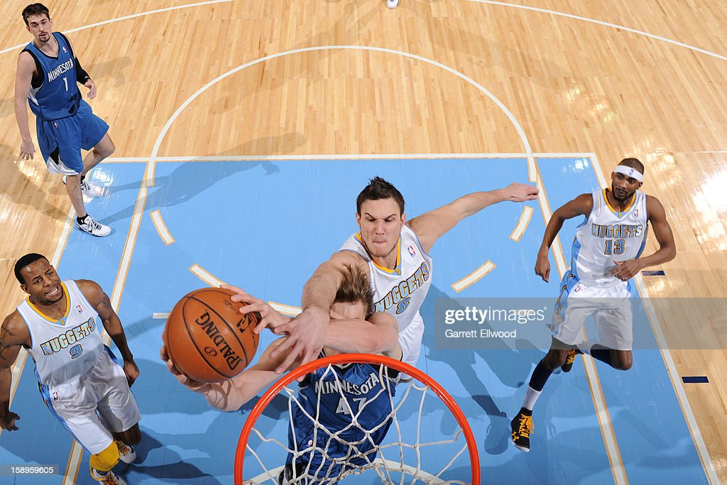 <a gi-track='captionPersonalityLinkClicked' href=/galleries/search?phrase=Danilo+Gallinari&family=editorial&specificpeople=4644476 ng-click='$event.stopPropagation()'>Danilo Gallinari</a> #8 of the Denver Nuggets attemps to block a shot against the Minnesota Timberwolves on January 3, 2013 at the Pepsi Center in Denver, Colorado.