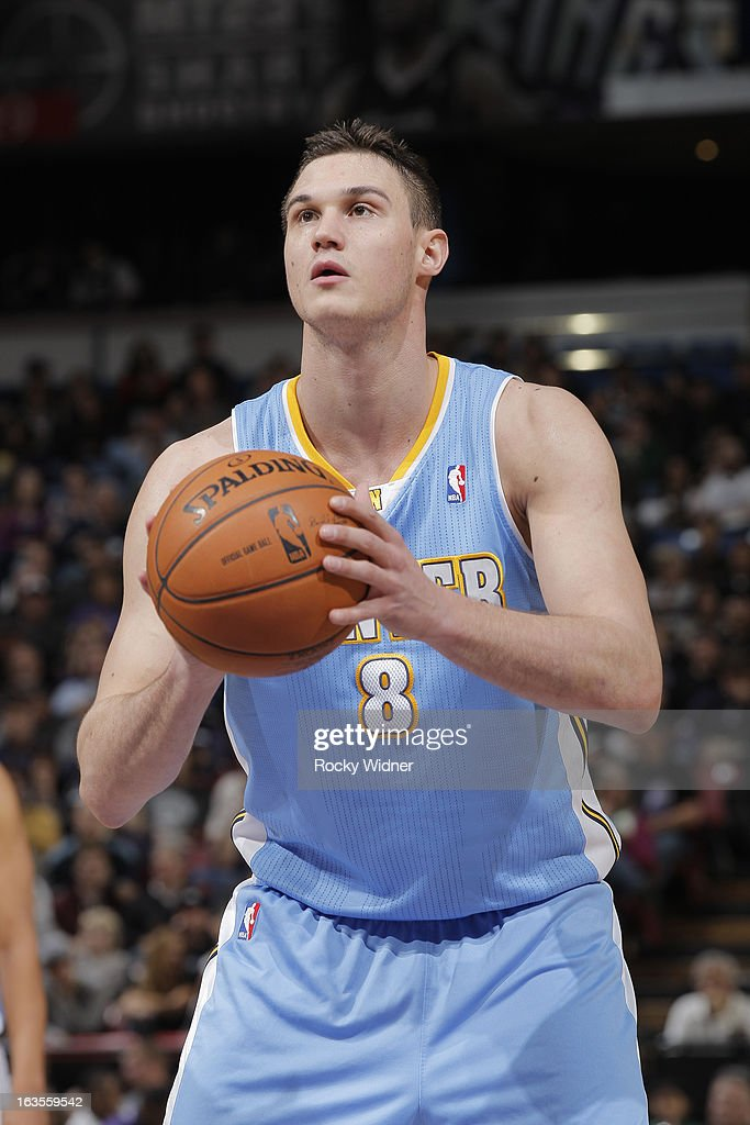 Danilo Gallinari #8 of the Denver Nuggets attempts a free throw shot against the Sacramento Kings on March 5, 2013 at Sleep Train Arena in Sacramento, California.