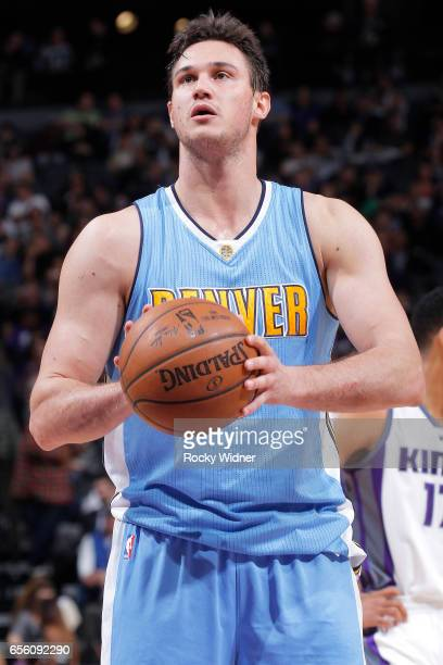 Danilo Gallinari of the Denver Nuggets attempts a freethrow shot against the Sacramento Kings on March 11 2017 at Golden 1 Center in Sacramento...
