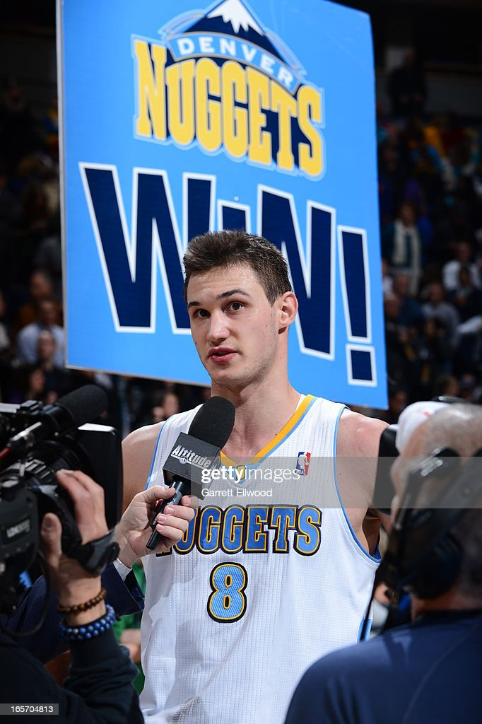 <a gi-track='captionPersonalityLinkClicked' href=/galleries/search?phrase=Danilo+Gallinari&family=editorial&specificpeople=4644476 ng-click='$event.stopPropagation()'>Danilo Gallinari</a> #8 of the Denver Nuggets does a post game interview after the game against the Sacramento Kings on March 23, 2012 at the Pepsi Center in Denver, Colorado.