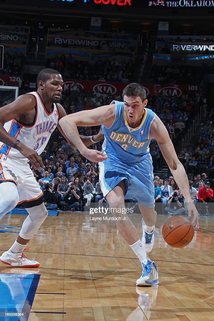 Danilo Gallinari #8 of the Denver Nuggets drives to the basket against the Oklahoma City Thunder on March 19, 2013 at the Chesapeake Energy Arena in Oklahoma City, Oklahoma.