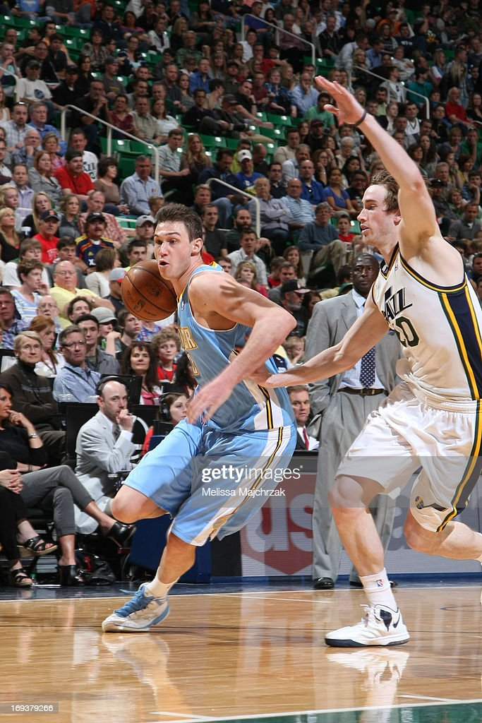 <a gi-track='captionPersonalityLinkClicked' href=/galleries/search?phrase=Danilo+Gallinari&family=editorial&specificpeople=4644476 ng-click='$event.stopPropagation()'>Danilo Gallinari</a> #8 of the Denver Nuggets drives to the basket against the Utah Jazz at Energy Solutions Arena on April 3, 2013 in Salt Lake City, Utah.