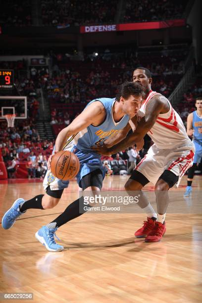 Danilo Gallinari of the Denver Nuggets drives to the basket against the Houston Rockets on April 5 2017 at Toyota Center in Houston Texas NOTE TO...