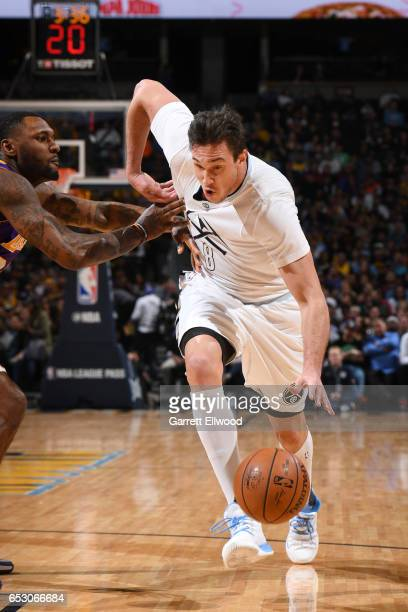 Danilo Gallinari of the Denver Nuggets drives to the basket during a game against the Los Angeles Lakers on March 13 2017 at the Pepsi Center in...