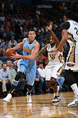 Danilo Gallinari of the Denver Nuggets drives to the basket during the game against the New Orleans Pelicans on November 17 2015 at the Smoothie King...