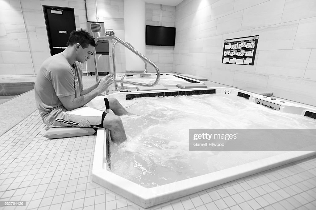 Danilo Gallinari #8 of the Denver Nuggets gets treatment before the game against the Utah Jazz on January 24, 2017 at the Pepsi Center in Denver, Colorado.
