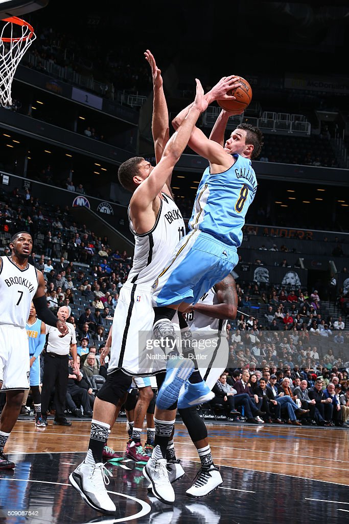 <a gi-track='captionPersonalityLinkClicked' href=/galleries/search?phrase=Danilo+Gallinari&family=editorial&specificpeople=4644476 ng-click='$event.stopPropagation()'>Danilo Gallinari</a> #8 of the Denver Nuggets goes for the lay up against the Brooklyn Nets during the game on February 8, 2016 at Barclays Center in Brooklyn, New York.