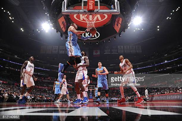 Danilo Gallinari of the Denver Nuggets goes for the layup against the Los Angeles Clippers during the game on February 24 2016 at STAPLES Center in...