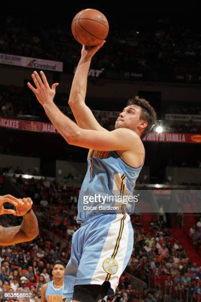Danilo Gallinari of the Denver Nuggets goes to the basket against the Miami Heat on April 2 2017 at American Airlines Arena in Miami Florida NOTE TO...