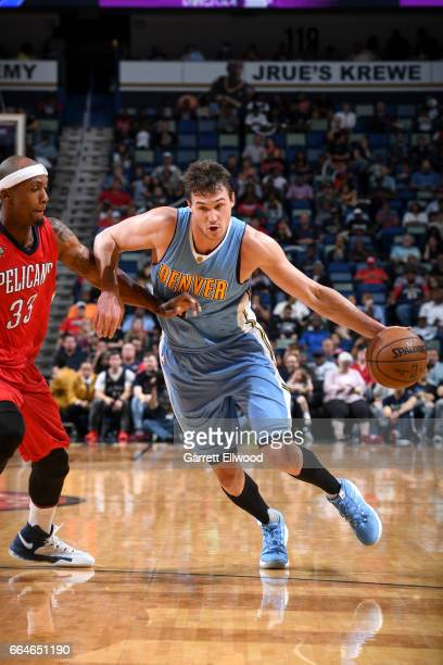 Danilo Gallinari of the Denver Nuggets goes to the basket against the New Orleans Pelicans on April 4 2017 at the Smoothie King Center in New Orleans...