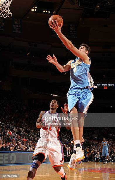 Danilo Gallinari of the Denver Nuggets goes to the basket during the game against the New York Knicks on January 21 2012 at Madison Square Garden in...