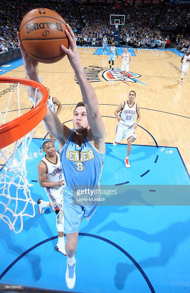 Danilo Gallinari #8 of the Denver Nuggets goes up for the dunk against the Oklahoma City Thunder during an NBA game on March 19, 2013 at the Chesapeake Energy Arena in Oklahoma City, Oklahoma.