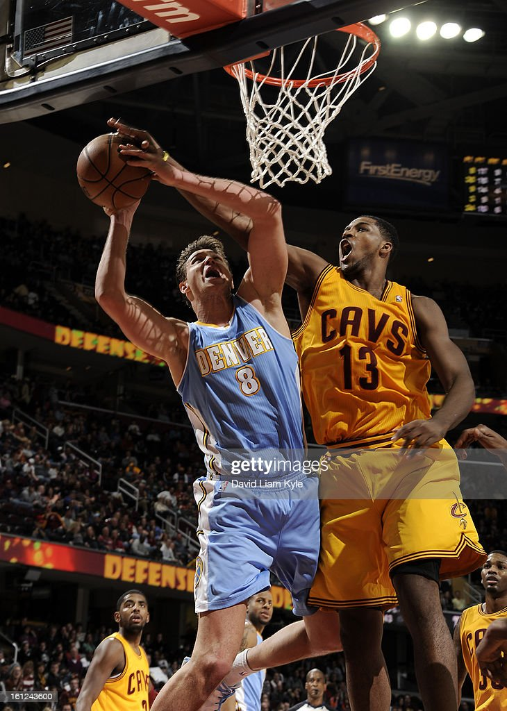 Danilo Gallinari #8 of the Denver Nuggets goes up for the shot against Tristan Thompson #13 of the Cleveland Cavaliers at The Quicken Loans Arena on February 9, 2013 in Cleveland, Ohio.