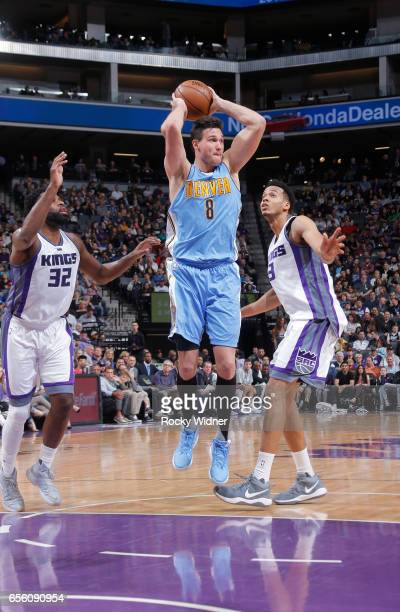 Danilo Gallinari of the Denver Nuggets goes up with the ball against the Sacramento Kings on March 11 2017 at Golden 1 Center in Sacramento...