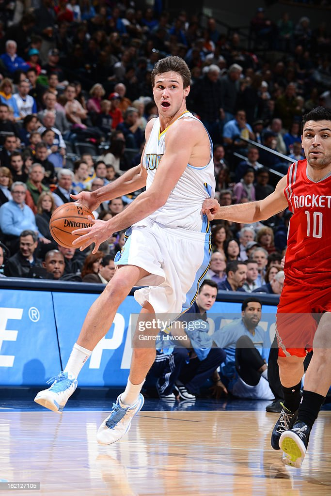 Danilo Gallinari #8 of the Denver Nuggets handles the ball against the Houston Rockets on January 30, 2013 at the Pepsi Center in Denver, Colorado.