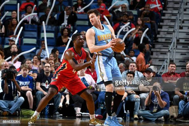 Danilo Gallinari of the Denver Nuggets handles the ball against the New Orleans Pelicans on April 4 2017 at the Smoothie King Center in New Orleans...