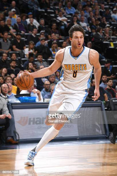 Danilo Gallinari of the Denver Nuggets handles the ball against the New Orleans Pelicans on April 7 2017 at the Pepsi Center in Denver Colorado NOTE...