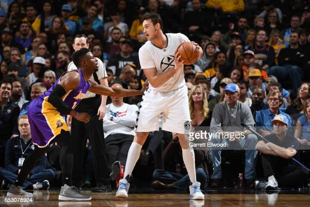Danilo Gallinari of the Denver Nuggets handles the ball during a game against the Los Angeles Lakers on March 13 2017 at the Pepsi Center in Denver...