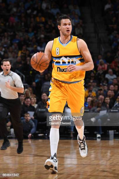 Danilo Gallinari of the Denver Nuggets handles the ball during a game against the Memphis Grizzlies on February 26 2017 at the Pepsi Center in Denver...