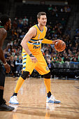 Danilo Gallinari of the Denver Nuggets handles the ball during the game against the Boston Celtics on February 21 2016 at the Pepsi Center in Denver...