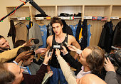 Danilo Gallinari of the Denver Nuggets is interviewed by the media after the defeat of the New York Knicks in double overtime on January 21 2012 at...