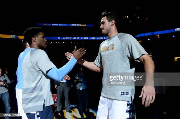 Danilo Gallinari of the Denver Nuggets is introduced before a game against the Los Angeles Lakers on March 13 2017 at the Pepsi Center in Denver...