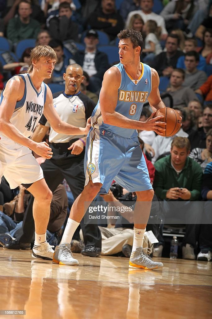 Danilo Gallinari #8 of the Denver Nuggets protects the ball Andrei Kirilenko #47 of the Minnesota Timberwolves during the game between the Minnesota Timberwolves and the Denver Nuggets on November 21, 2012 at Target Center in Minneapolis, Minnesota.