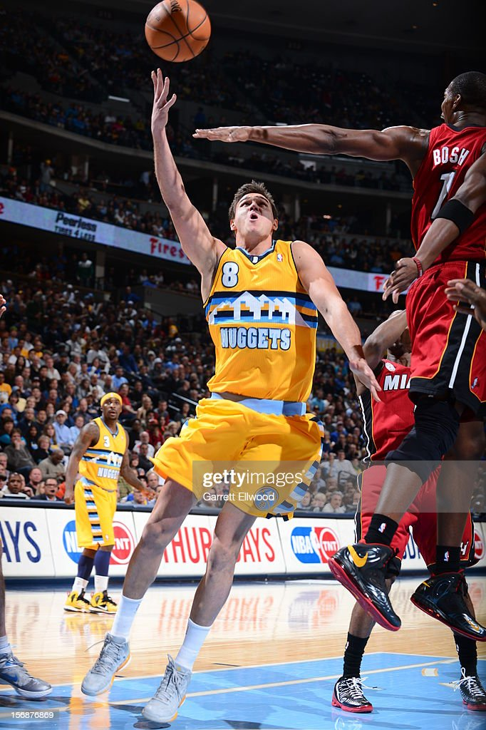 <a gi-track='captionPersonalityLinkClicked' href=/galleries/search?phrase=Danilo+Gallinari&family=editorial&specificpeople=4644476 ng-click='$event.stopPropagation()'>Danilo Gallinari</a> #8 of the Denver Nuggets puts up a shot over <a gi-track='captionPersonalityLinkClicked' href=/galleries/search?phrase=Chris+Bosh&family=editorial&specificpeople=201574 ng-click='$event.stopPropagation()'>Chris Bosh</a> #1 of the Miami Heat on November 15, 2012 at the Pepsi Center in Denver, Colorado.