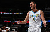 Danilo Gallinari of the Denver Nuggets reacts after being called for a foul against the Houston Rockets at Pepsi Center on March 7 2015 in Denver...